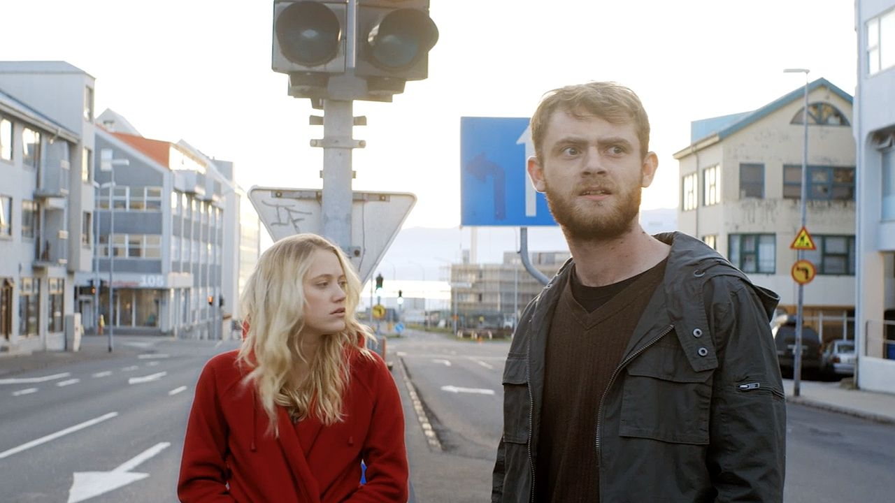 Maika Monroe, Matt O'Leary in an inexplicably deserted Iceland in Bokeh (2017)