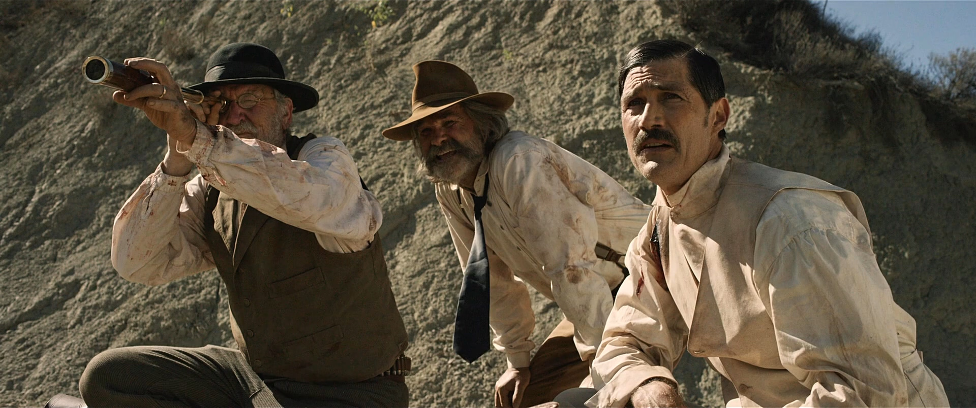 (l to r) Richard Jenkins, Kurt Russell, Matthew Fox in Bone Tomahawk (2015)