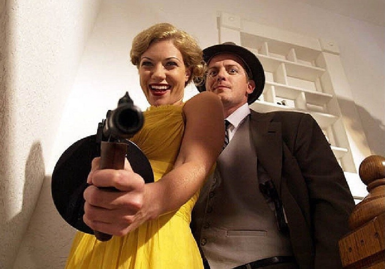 Bonnie (Tiffany Shepis) and Clyde (Trent Haaga) in Bonnie and Clyde vs Dracula (2008)