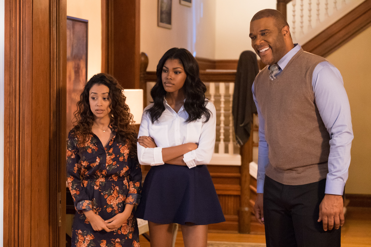 Tyler Perry as Madea's son Brian along with his daughter Diamond White (c) and her friend Liza Koshy (l) in Boo! A Madea Halloween (2016)