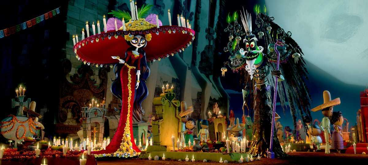 La Muerte (voiced by Kate del Castillo) and Xibalba (voiced by Ron Perlman) in The Book of Life (2014)