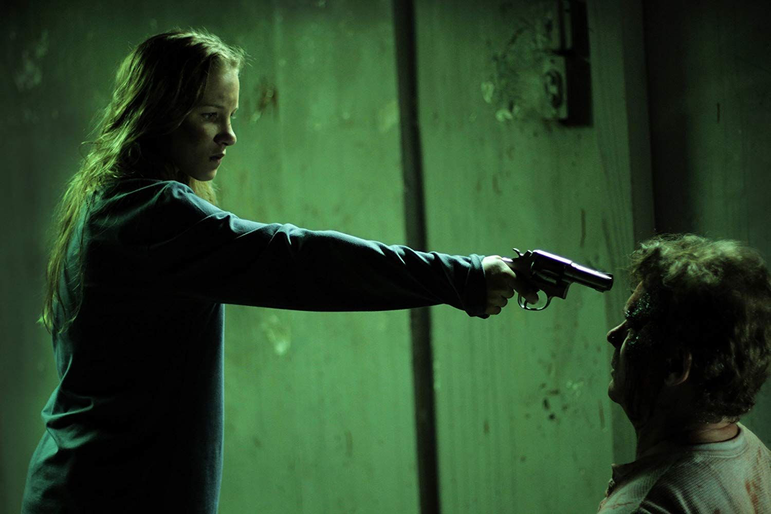 Tina Ivlev holds Richard Tyson at gunpoint in Bound to Vengeance (2015)