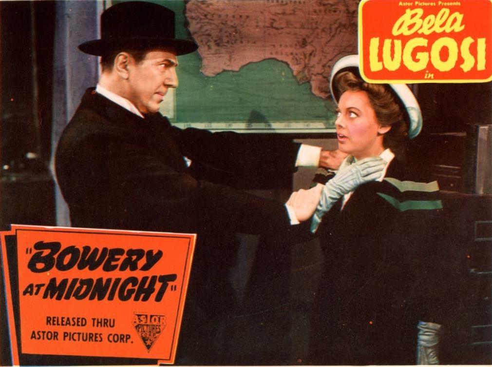 Bela Lugosi threatens Wanda McKay in Bowery at Midnight (1942)