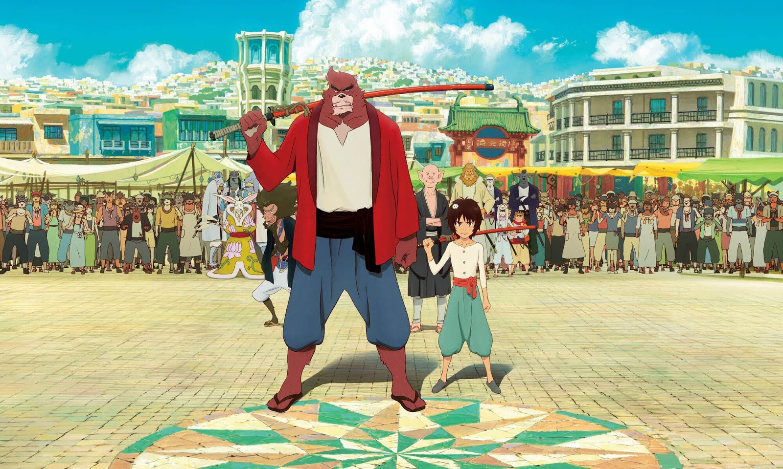 Sensei and pupil - the beast Kumatetsu and his human ward Ren/Kyuta in The Boy and the Beast (2015)