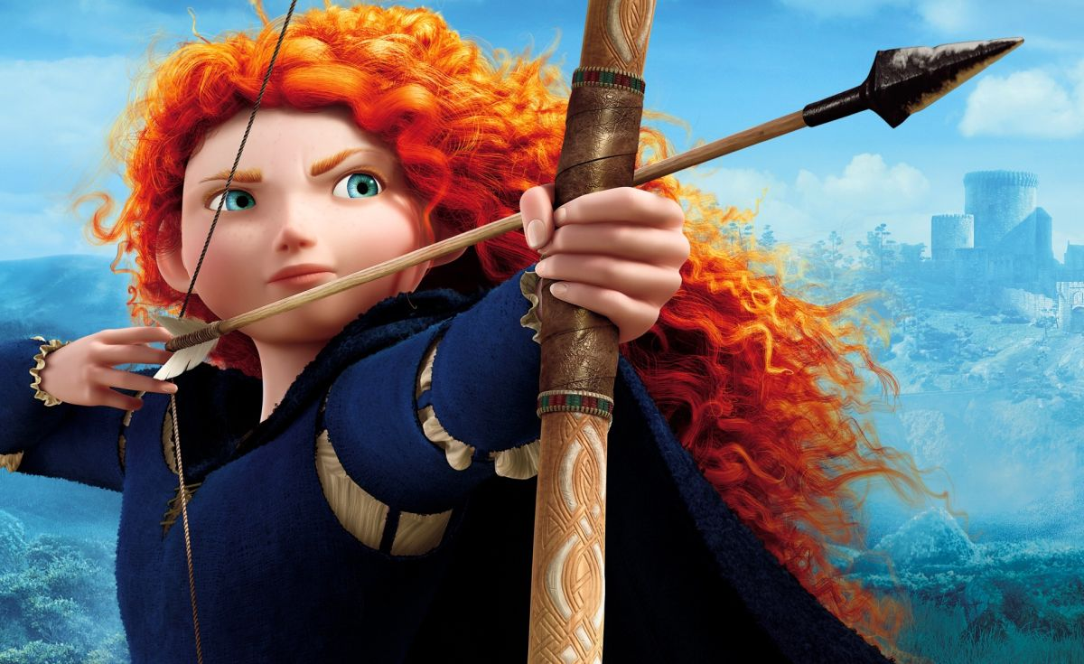 Merida (voice by Kelly Macdonald), Pixar's first female-led protagonist in Brave (2012)