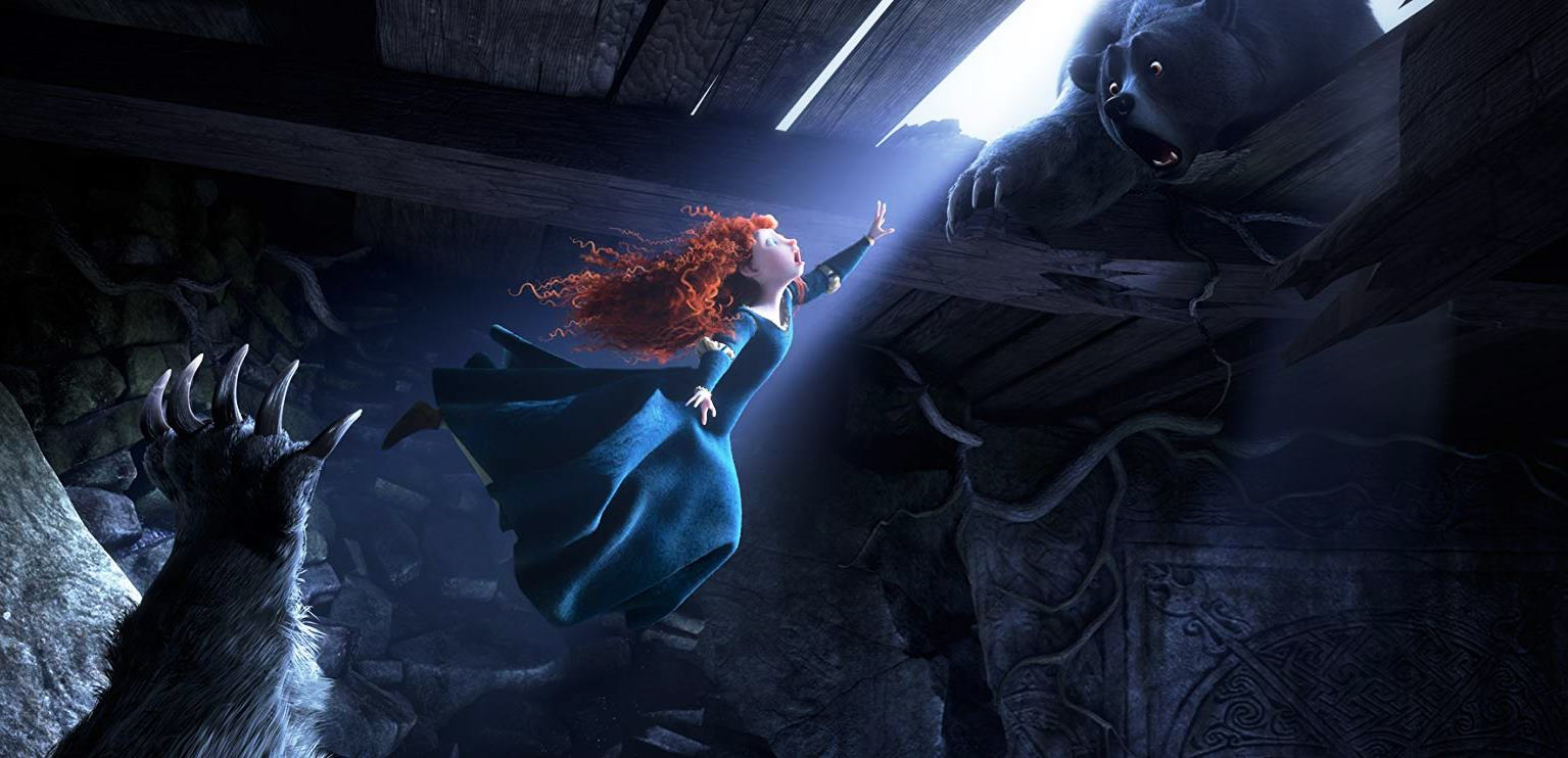 Merida attempts to reach her mother who has been transformed into a bear in Brave (2012)