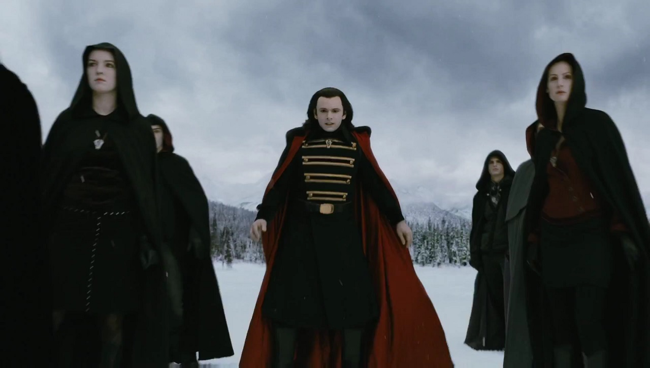 The Volturi led by Aro (Michael Sheen) arrive for war in Breaking Dawn Part Two (2012)