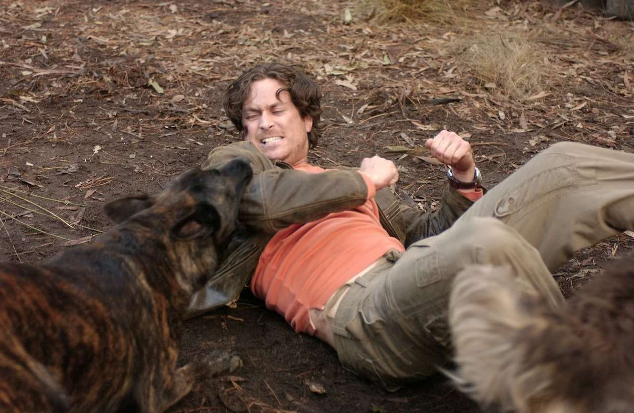 Oliver Hudson under attack by killer dogs in The Breed (2006)