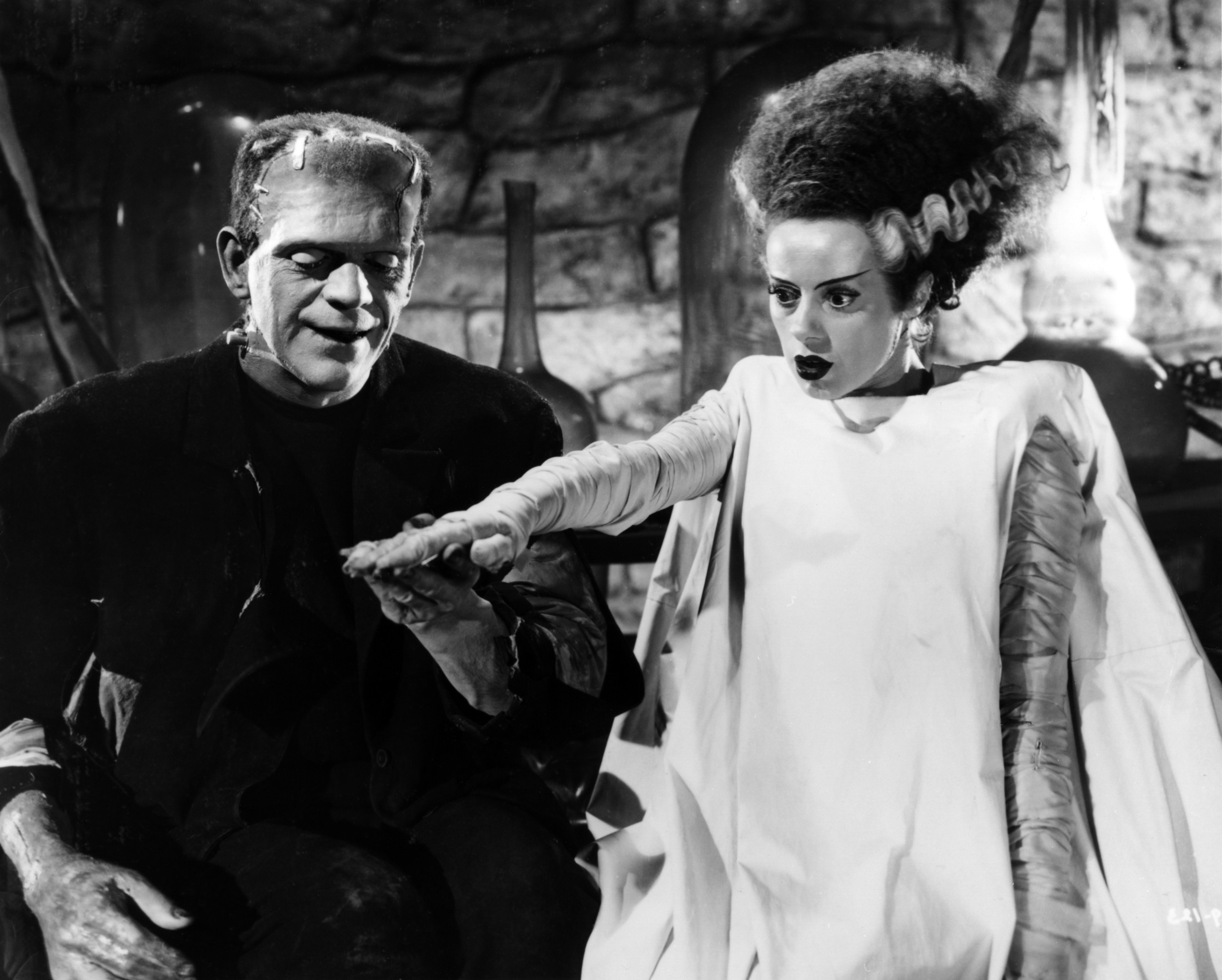 The Monster (Boris Karloff) and the Bride (Elsa Lanchester) in Bride of Frankenstein (1935)