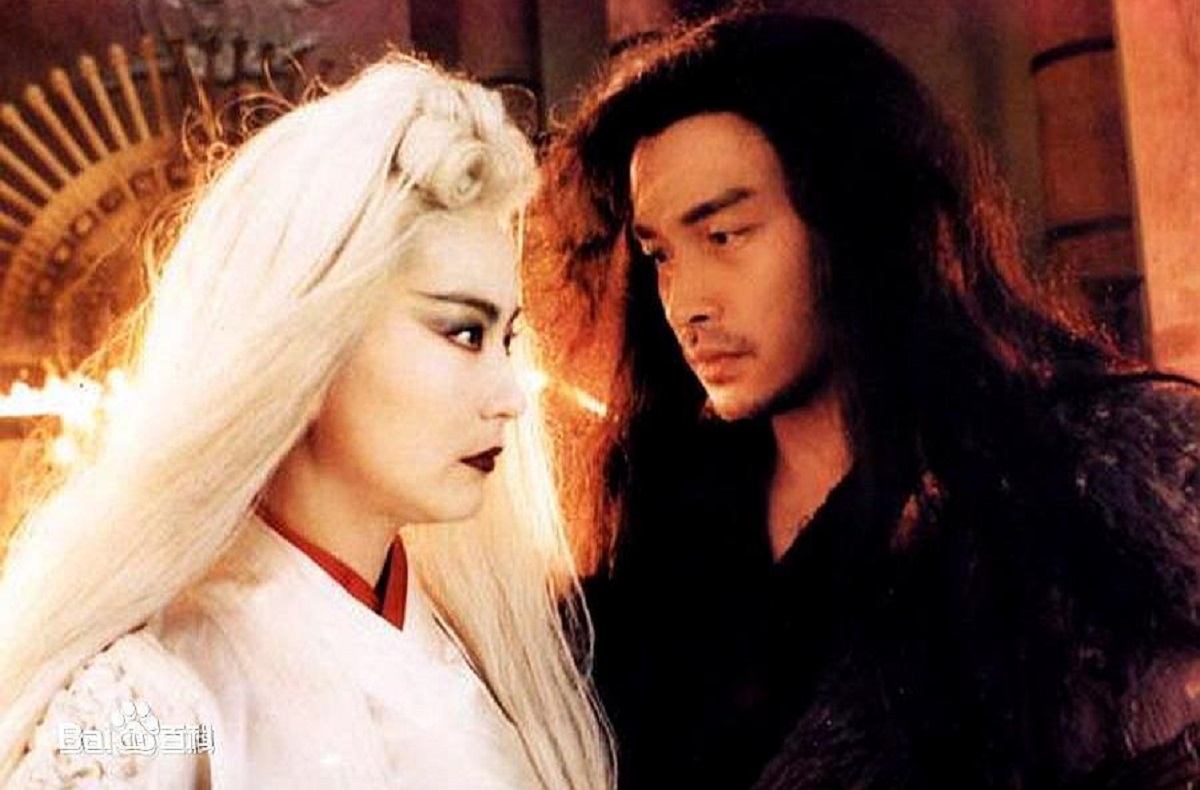 Brigitte Lin and Leslie Cheung in The Bride with White Hair 2 (1993)