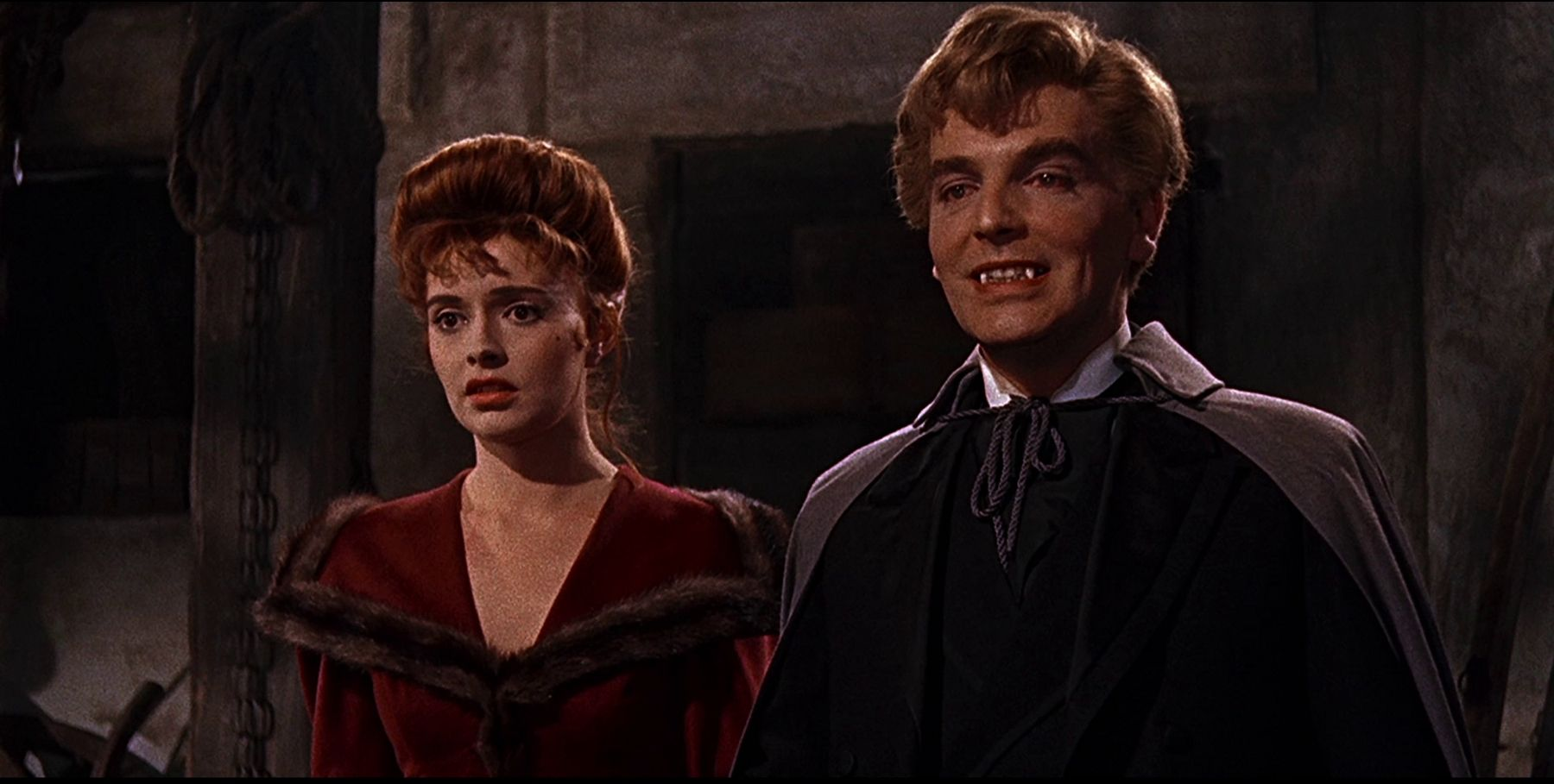 Schoolteacher Yvonne Monlaur with David Peel as Baron Meinster in The Brides of Dracula (1960)