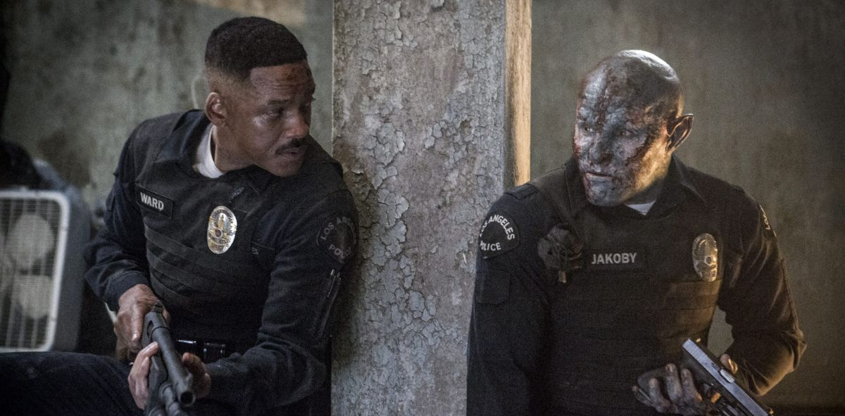 Human police officer Will Smith and his orc partner Joel Edgerton in Bright (2017)