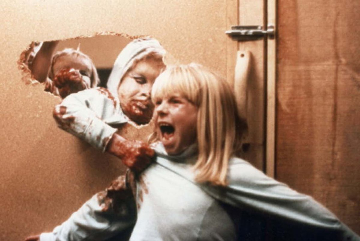 Young Candy (Cindy Hinds) under attack by the mutant children in The Brood (1979)