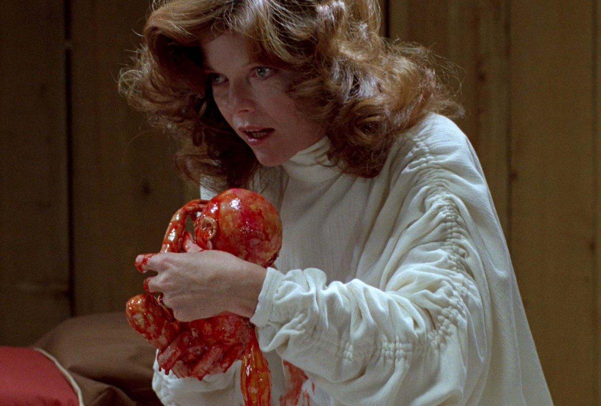 Nola Carveth (Samantha Eggar) with one of The Brood (1979)