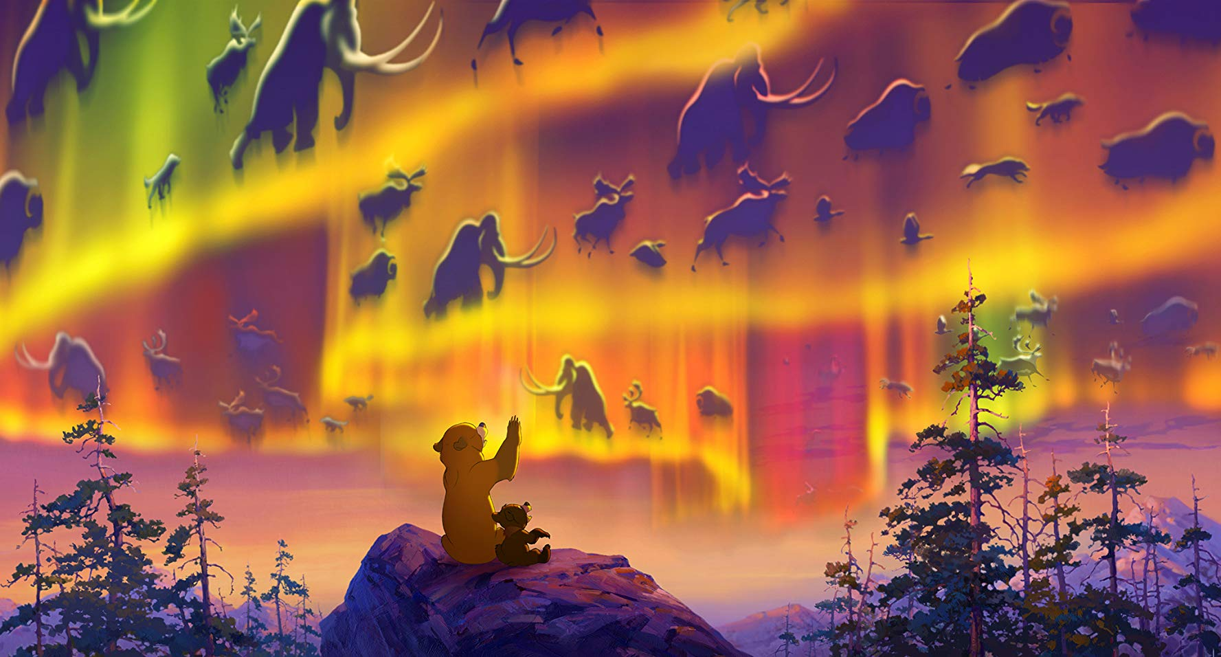 Kenai and Koda watch the aurora borealis in Brother Bear (2003)
