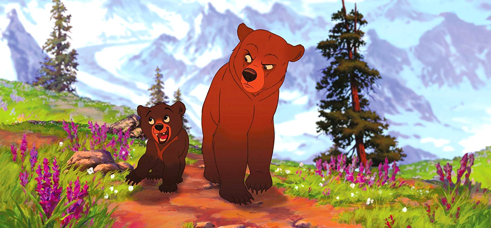 Kenai (voiced by Joaquin Phoenix), the Inuit warrior transformed into a bear (r), and his young ward Koda (voiced by Jeremy Suarez) in Brother Bear (2003)