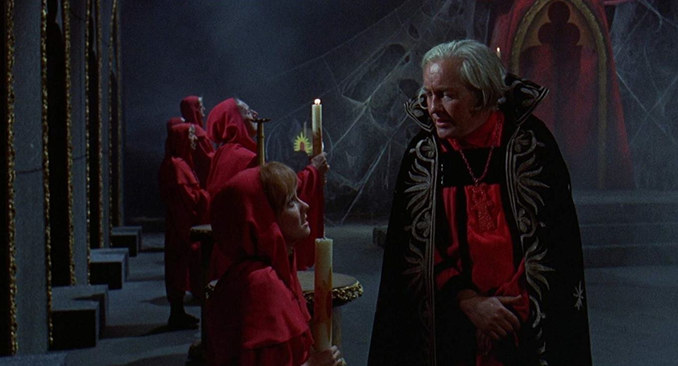 Satanist coven leader Strother Martin and his followers in Brotherhood of Satan (1971)