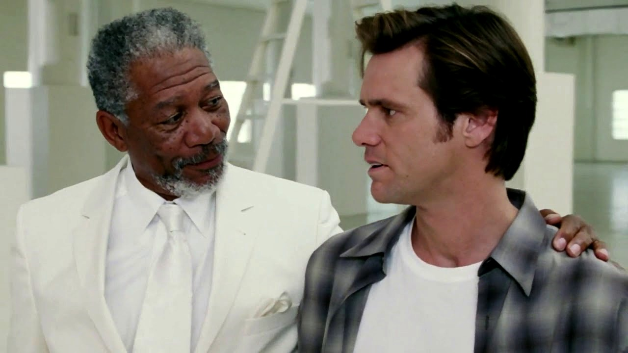 God (Morgan Freeman) grants Bruce (Jim Carrey) his powers for one week in Bruce Almighty (2003)