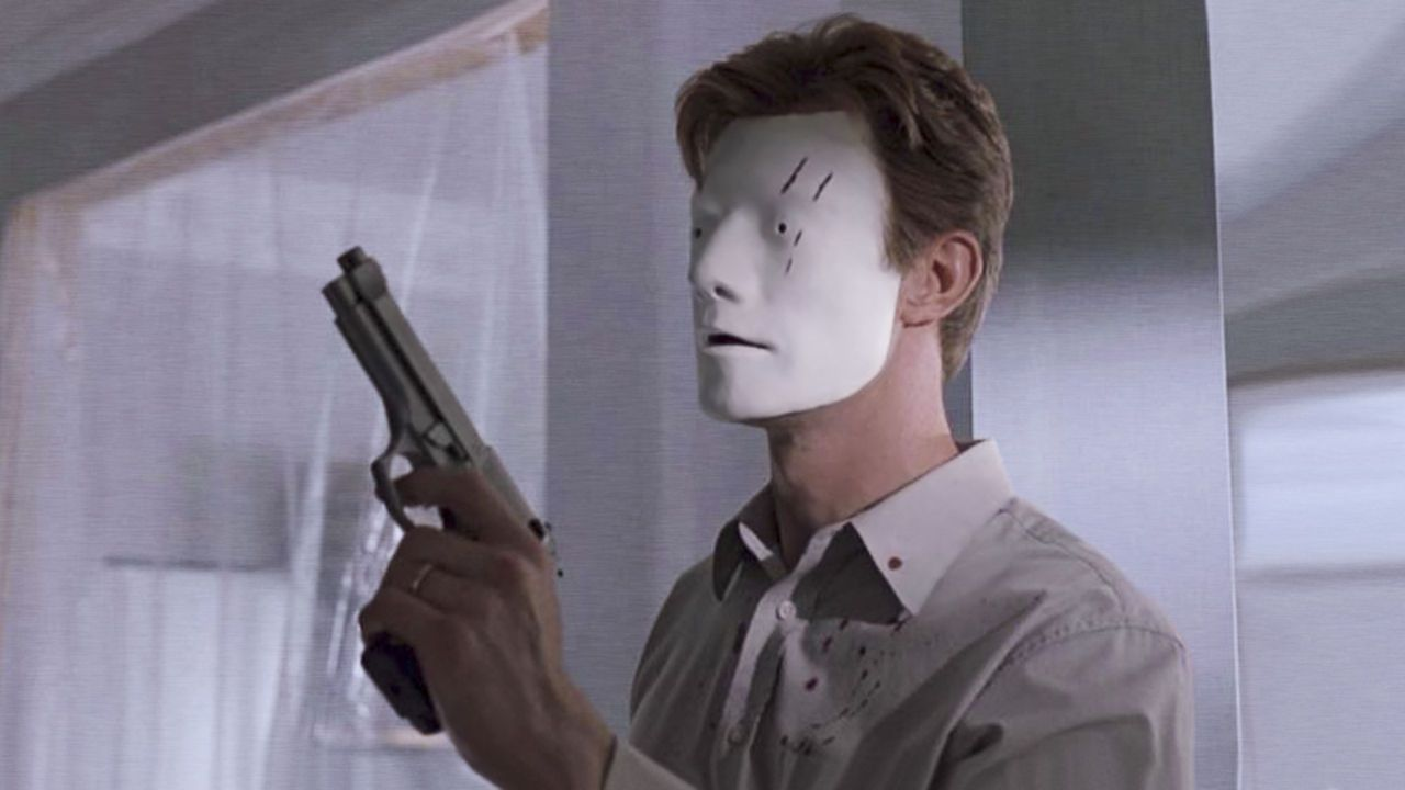 With the face mask on, Jason Flemyng is able to enact vengeance in Bruiser (2000)