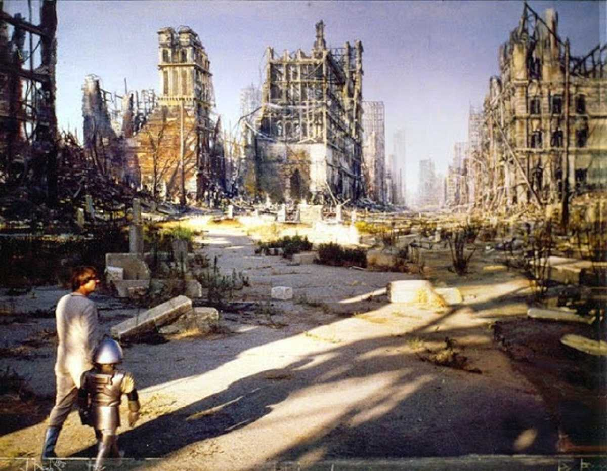 Buck Rogers (Gil Gerard) and Twiki (Felix Silla) visit the ruins of Chicago in Buck Rogers in the 25th Century (1979)