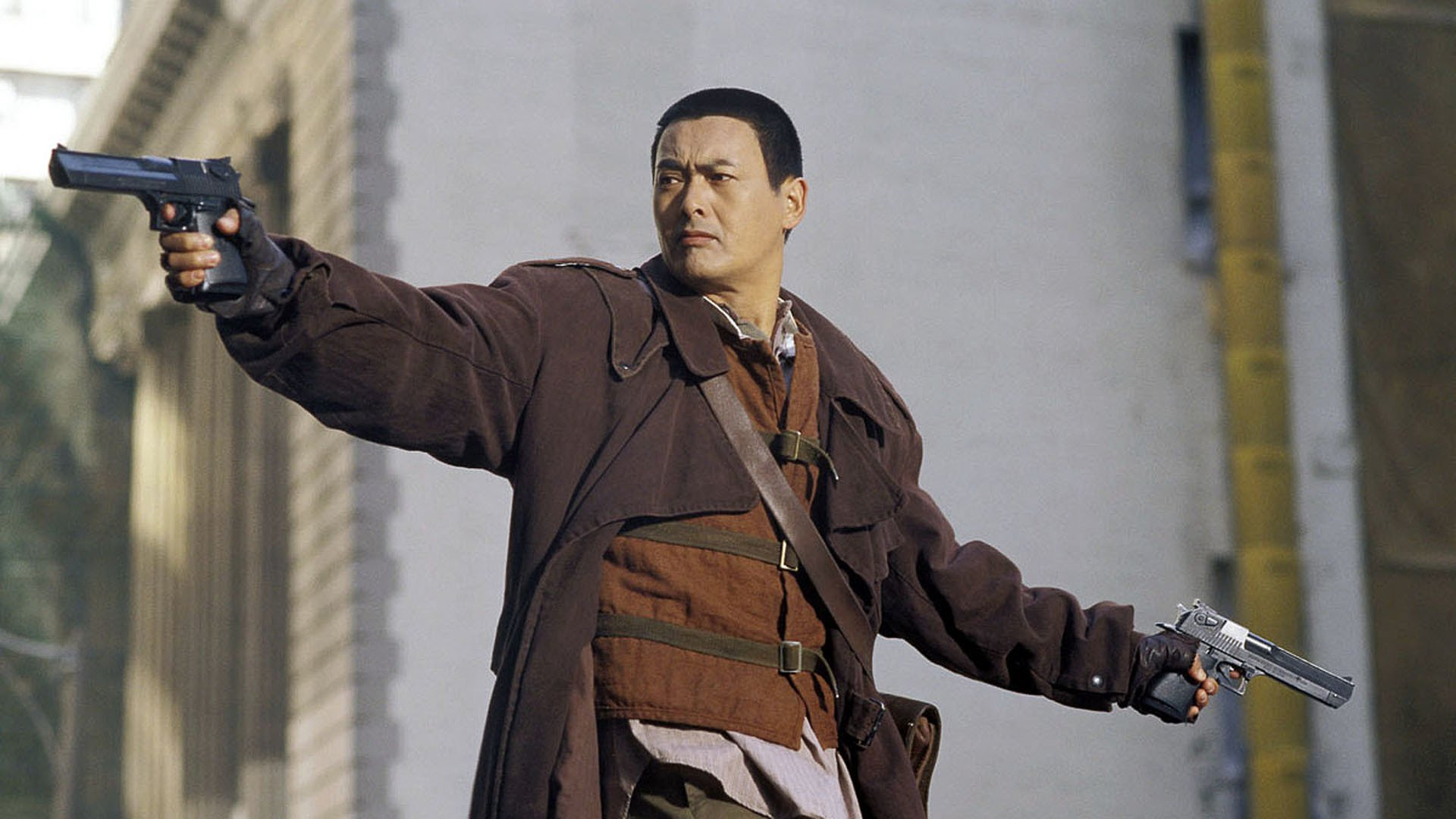 Chow Yun Fat in action as the the Monk With No Name in Bulletproof Monk (2003)