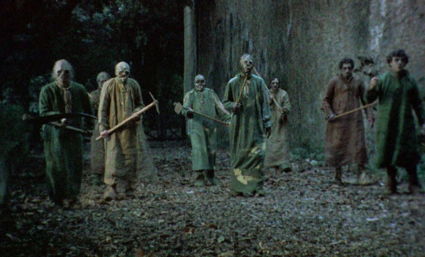 Etruscan zombies on the march in Burial Ground (1981)