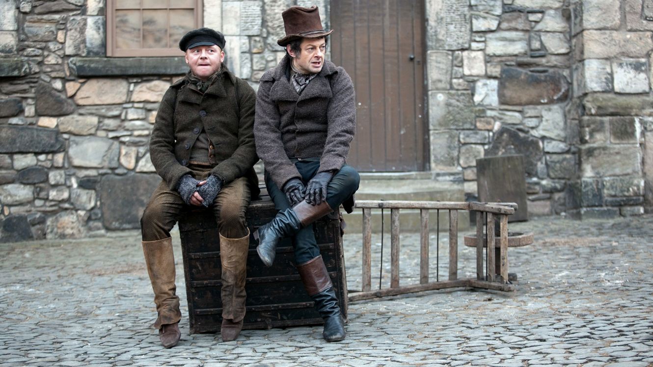 (l to r) William Burke (Simon Pegg) and William Hare (Andy Serkis) in Burke & Hare (2010)