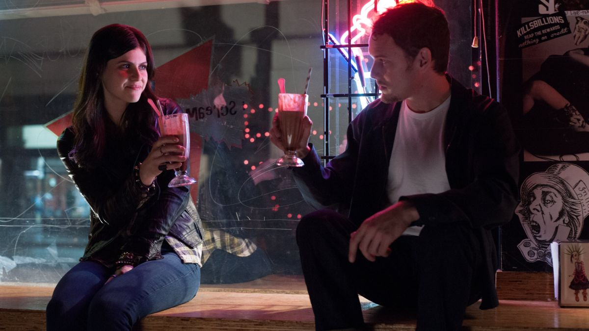 Anton Yelchin with new girlfriend Alexanda Daddario in Burying the Ex (2014)