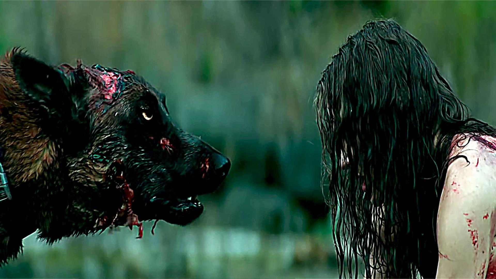 Nadine Crocker and infected dog in Cabin Fever (2016)