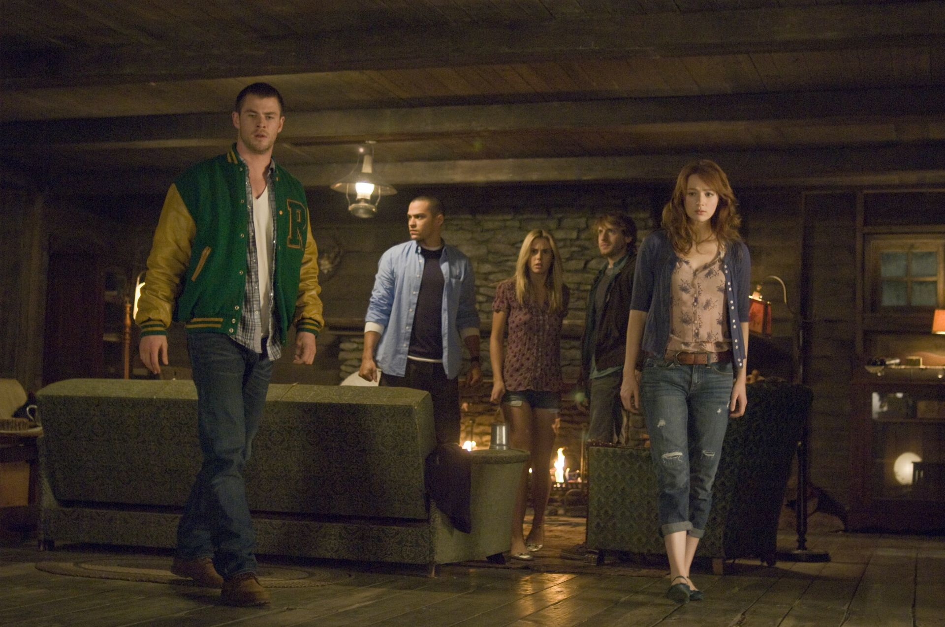 Chris Hemsworth, Jesse Williams, Anna Hutchison, Fran Kranz and Kristen Connolly in The Cabin in the Woods (2012)