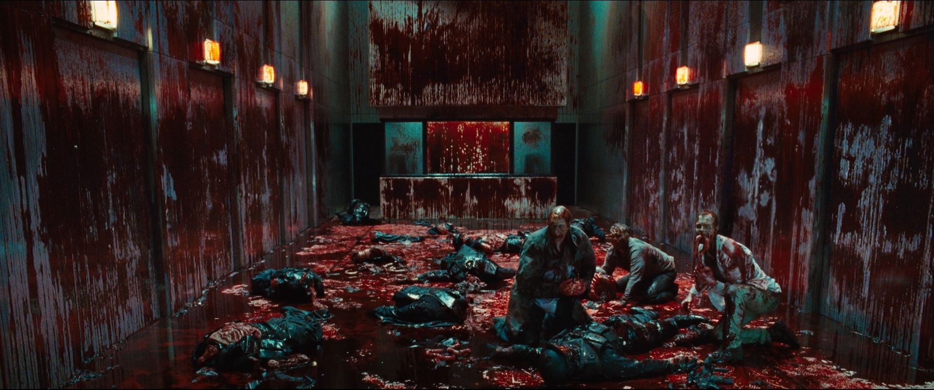The climactic bloodbath in the laboratory in Cabin in the Woods (2012)