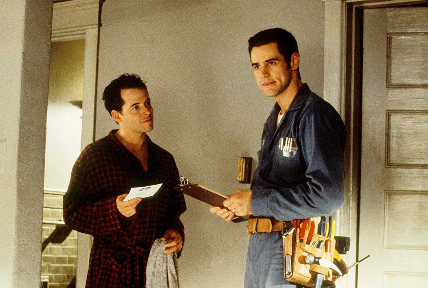 Matthew Broderick and Jim Carrey as Chip Douglas in The Cable Guy (1996)