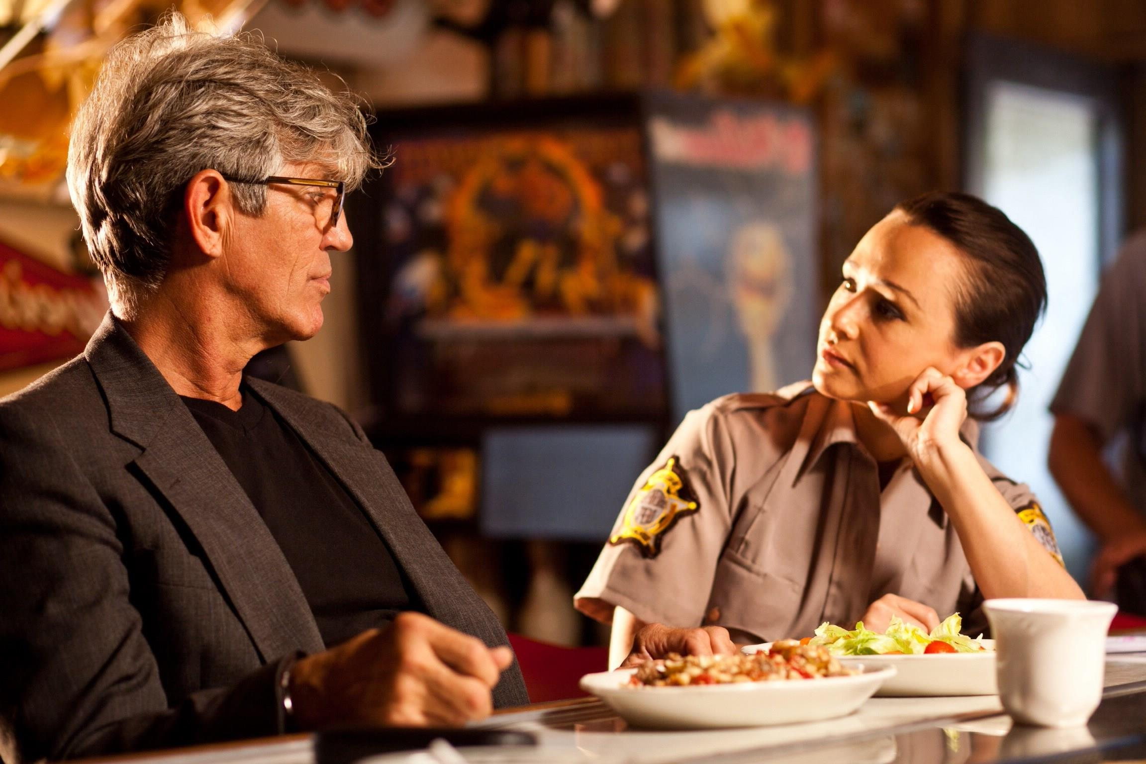 Filmmaker Eric Roberts and deputy Danielle Harris in Camp Dread (2014)