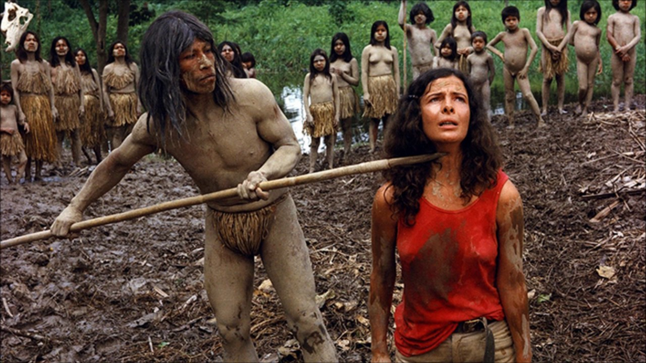 Lorraine del Salle made a prisoner by the natives in Cannibal Ferox (1981)
