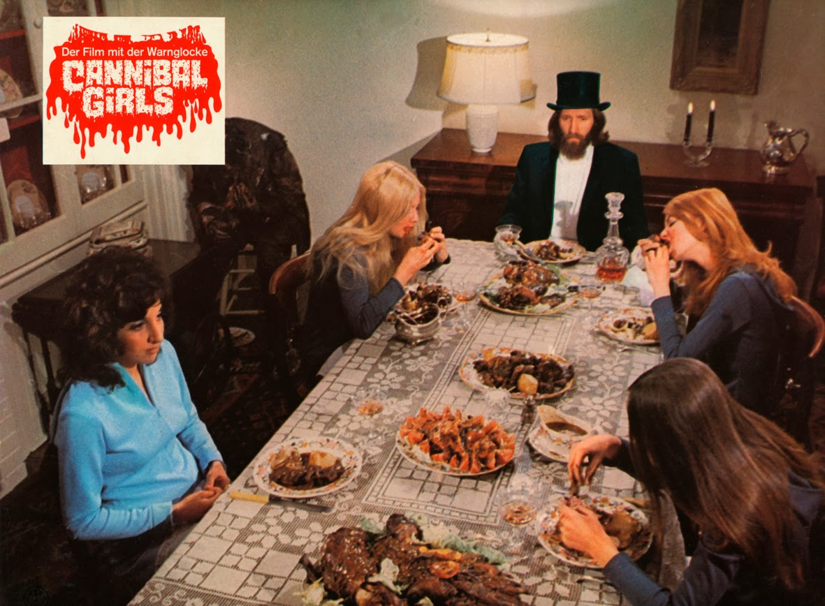 Sitting down to dinner at the hotel - (clockwise from left) Andrea Martin, Randall Carpenter, Ronald Ulrich, Bonnie Nielson and Mira Pawluk in Cannibal Girls (1973)