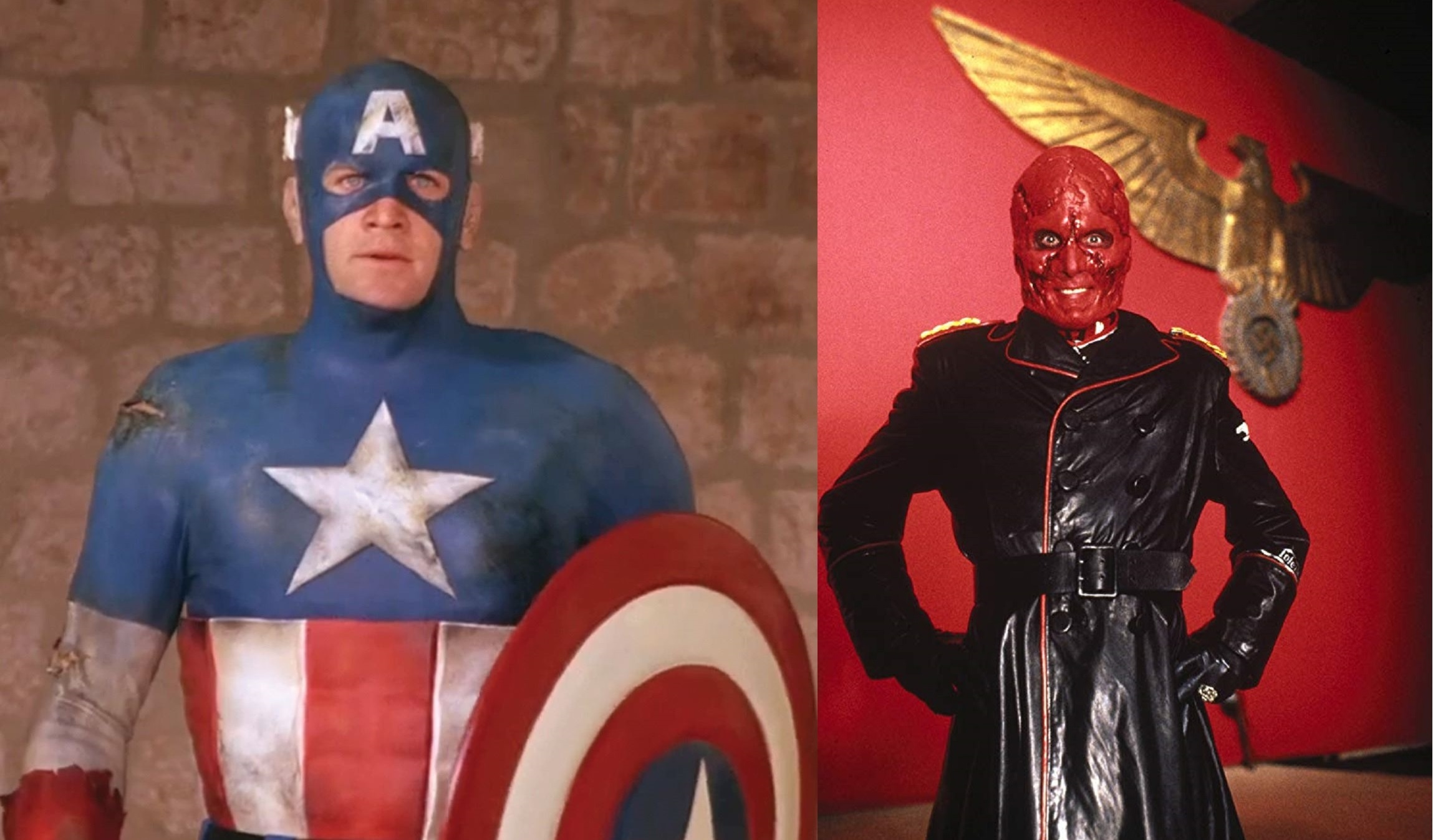 Matt Salinger as Captain America; Scott Paulin as The Red Skull in Captain America (1990)