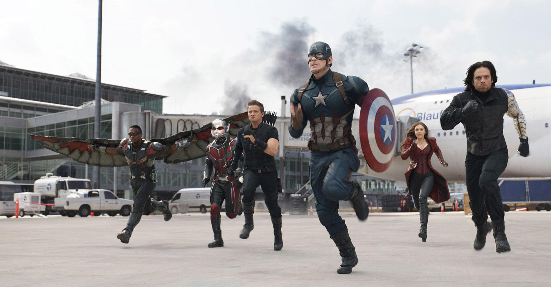 The Falcon (Anthony Mackie), Ant-Man (Paul Rudd), Hawkeye (Jeremy Renner), Captain America (Chris Evans), Scarlet Witch (Elizabeth Olsen) and Bucky Barnes (Sebastian Stan) in Captain America: Civil War (2016)
