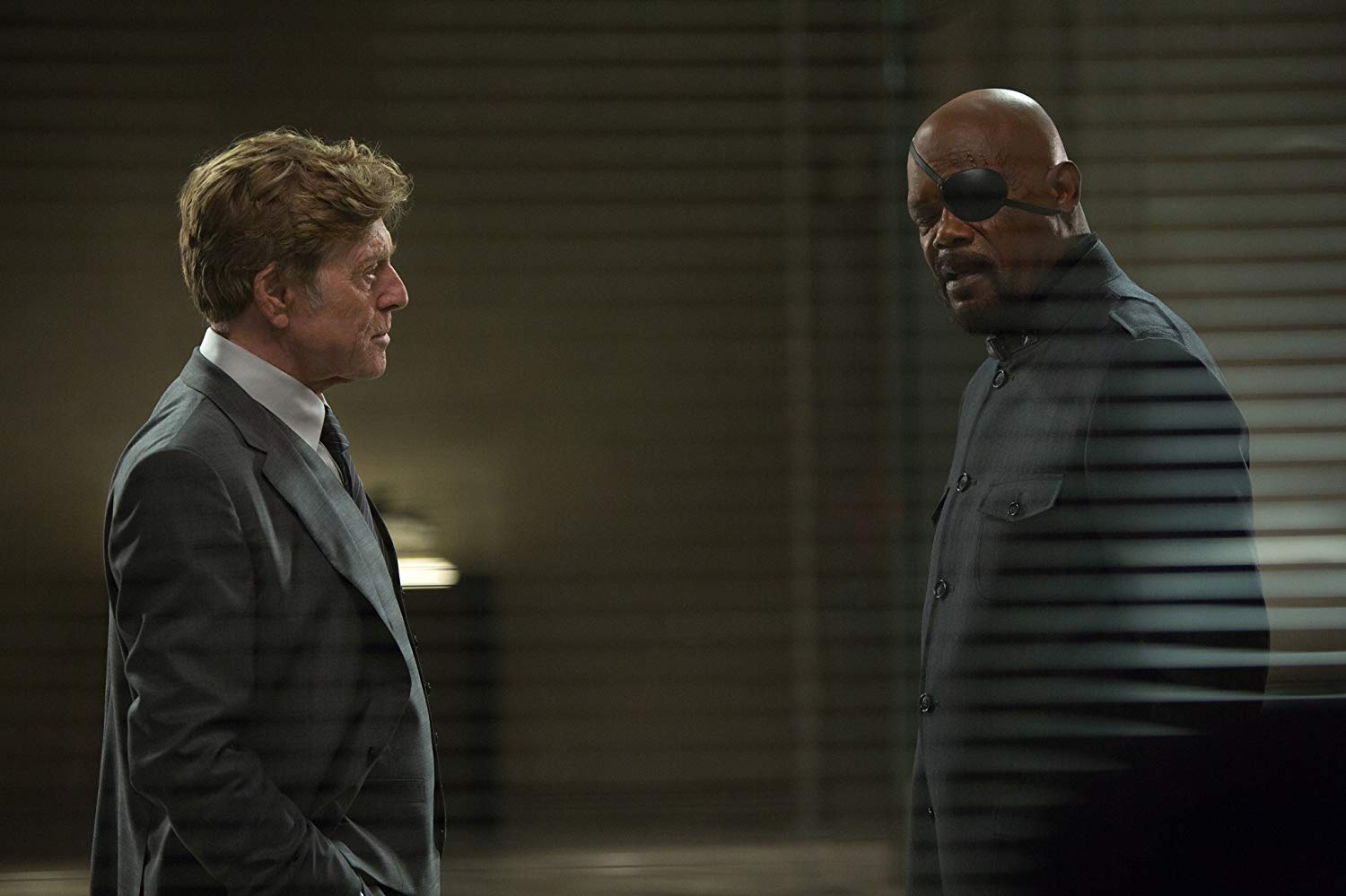 Alexander Pierce (Robert Redford) and Nick Fury (Samuel L. Jackson) in Captain America: The Winter Soldier (2014)