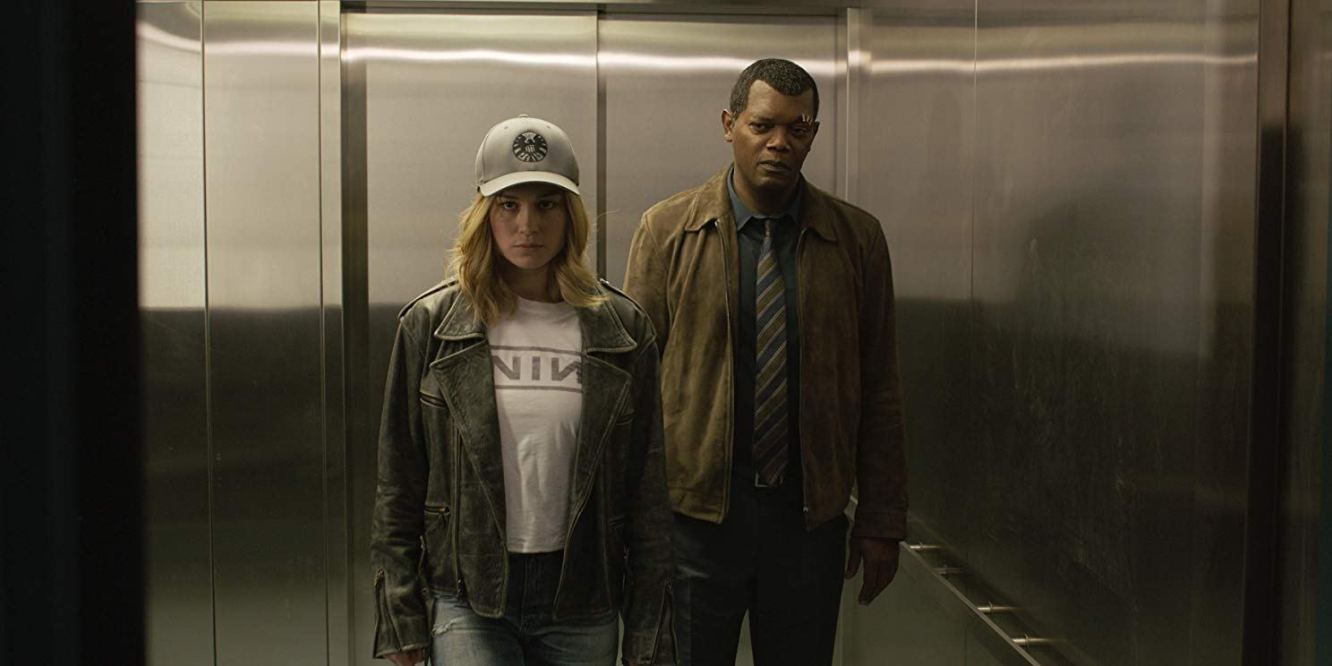 Brie Larson and Samuel L. Jackson infiltrate a US Air Force base in Captain Marvel (2019)