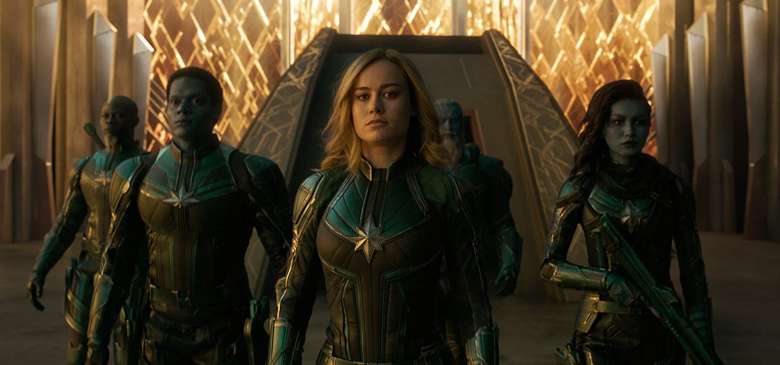 The Kree Star Force - (l to r) Korath (Djimon Hounsou), Alt-Lass (Algenis Perez Soto), Vers (Brie Larson), Bron Char (Rune Temte) and Minn-Erva (Gemma Chan) in Captain Marvel (2019)