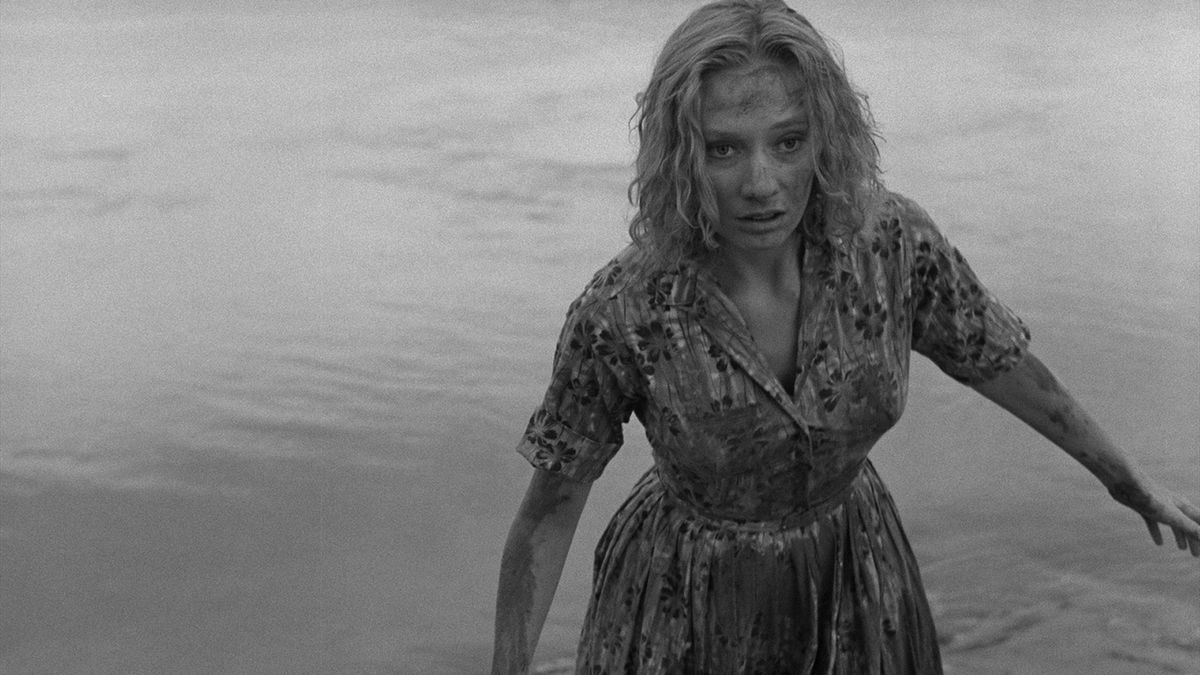 Candace Hilligoss emerges from the car crash in Carnival of Souls (1962)
