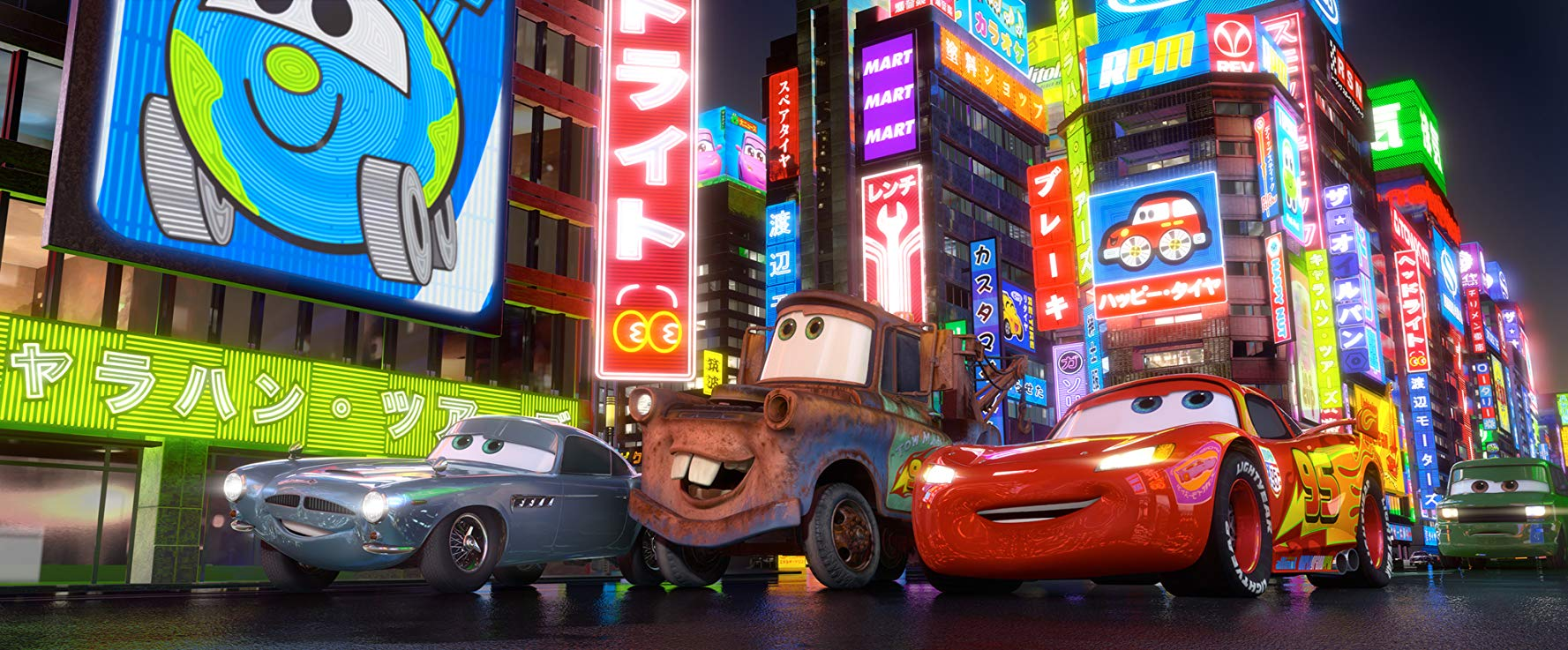 Finn McMissile (voiced by Michael Caine), Mater (voiced by Larry the Cable Guy) and Lightning McQueen (voiced by Owen Wilson) visit Japan in Cars 2 (2011)