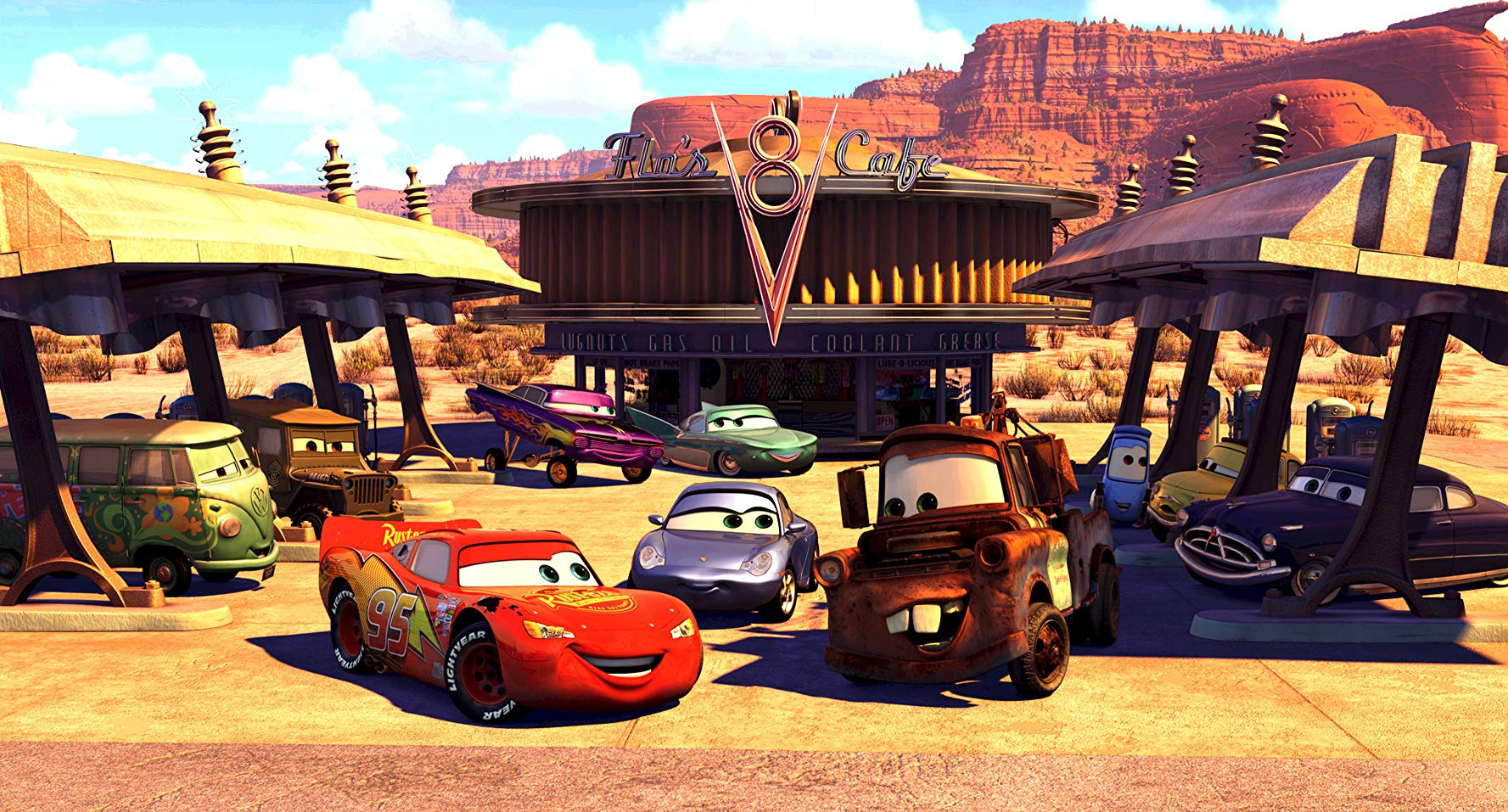 Lightning McQueen discovers the joys of the quiet life among the vehicles of Radiator Springs in Cars (2006)
