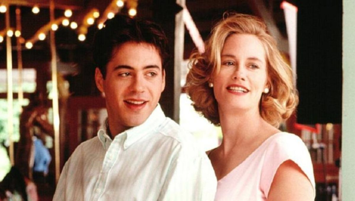 Cybill Shepherd romances her late husband reincarnated in the body of daughter's boyfriend Robert Downey Jr in Chances Are (1989)