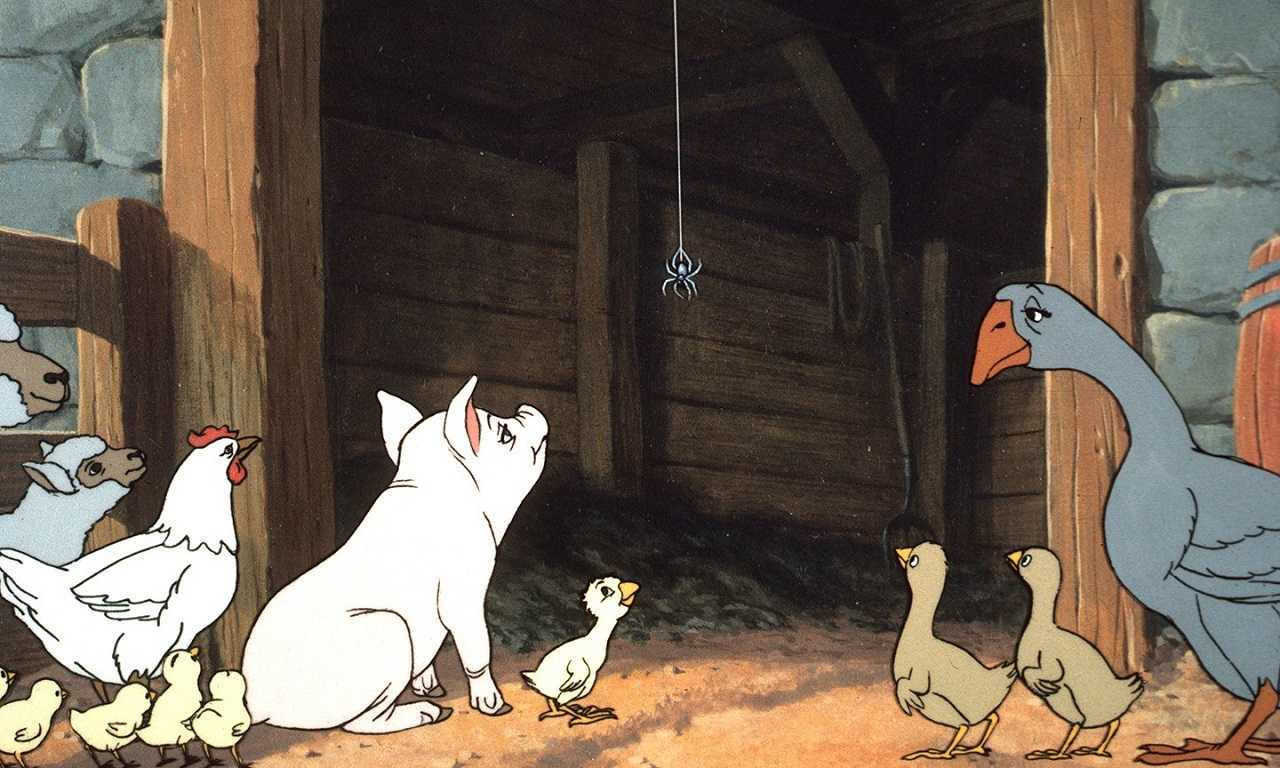 Wilbur, Charlotte and the animals in Charlotte's Web (1973)