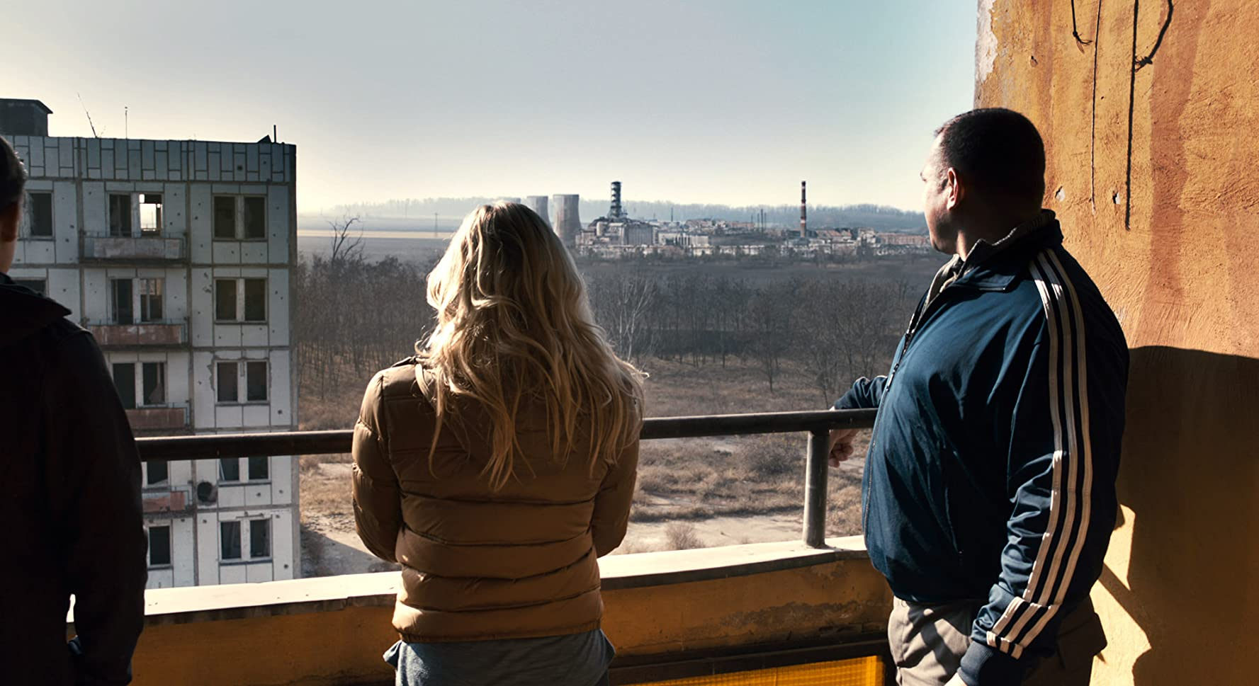 Olivia Taylor Dudley and Dimitri Diatchenko looking out at the Chernobyl Reactor in Chernobyl Diaries (2012)