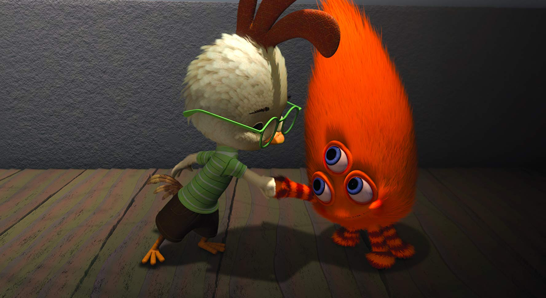 Chicken Little (voiced by Zach Braff) greets the alien visitors in Chicken Little (2005)