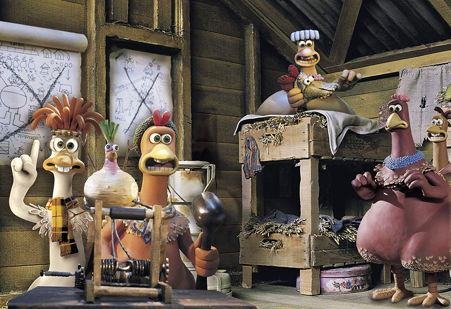 Parody of a WWII escape movie conducted with talking chickens in Chicken Run (2000)