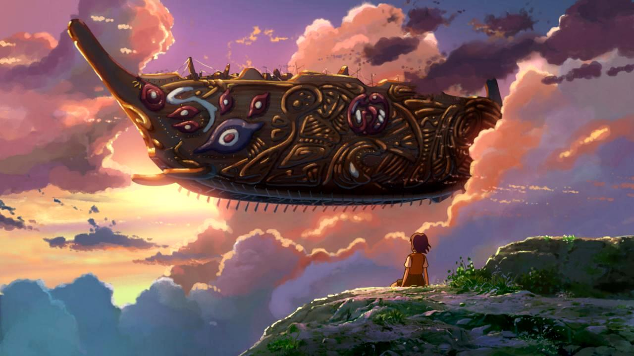 Asuna watches thw arrival of the heaven ship in Children Who Chase Lost Voices from the Deep (2011)