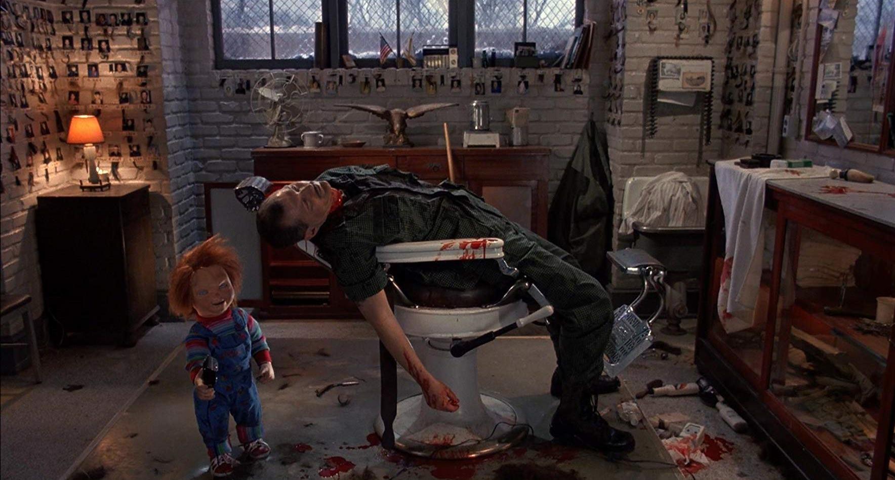 Chucky slaughters barber Andrew Robinson in Child's Play 3 (1991)